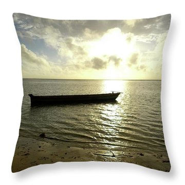 Kenyan Wooden Dhow At Sunrise Throw Pillow