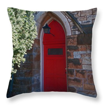 Red Church Door Throw Pillow