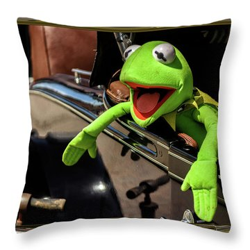 Kermit In Model T Throw Pillow