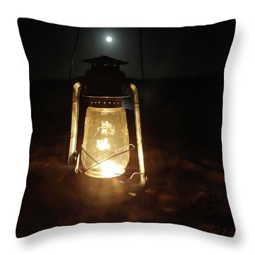 Kerosine Lantern In The Moonlight Throw Pillow