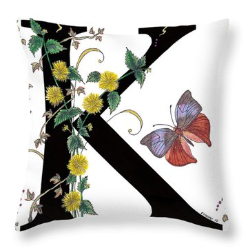 Kerria Japonica And Koh-i-noor Butterfly Throw Pillow by Stanza Widen