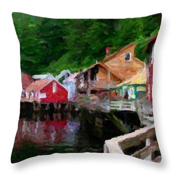 Ketchikan Alaska Throw Pillow by David Hansen