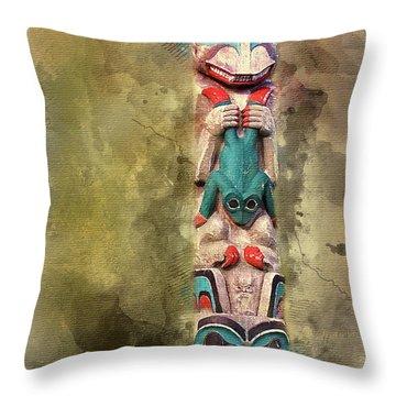 Ketchikan Alaska Totem Pole Throw Pillow by Bellesouth Studio