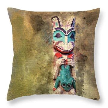 Ketchikan Alaska Totem Pole Throw Pillow