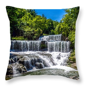 Throw Pillow featuring the photograph Keuka Outlet Waterfall by William Norton