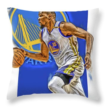 Kevin Durant Golden State Warriors Oil Art Throw Pillow
