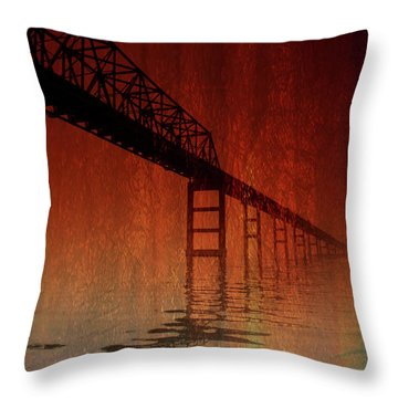 Key Bridge Artistic  In Baltimore Maryland Throw Pillow by Skip Willits