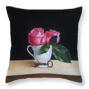 Throw Pillow featuring the drawing Key From Barcelona by Elena Kolotusha