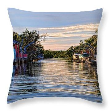Key Largo Canal Throw Pillow