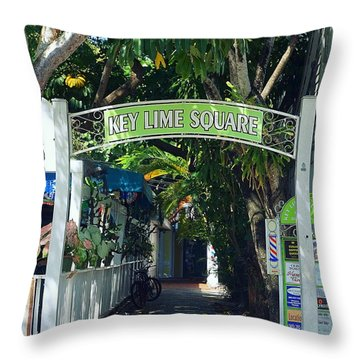 Key Lime Square Throw Pillow by Laurie Perry