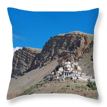 Throw Pillow featuring the photograph Key Monastery by Yew Kwang