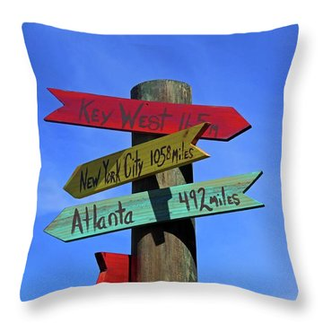 Key West 165 Miles Throw Pillow