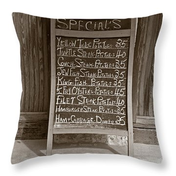 Throw Pillow featuring the photograph Key West Depression Era Restaurant Specials by John Stephens