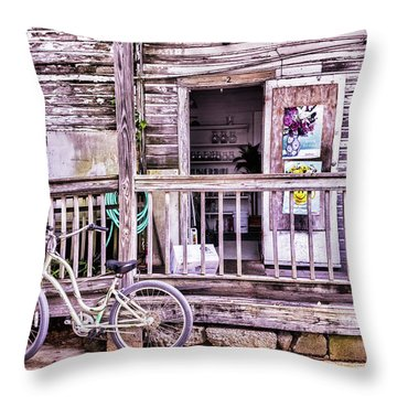 Key West Flower Shop Throw Pillow