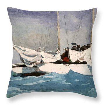 Key West Hauling Throw Pillow by Winslow Homer