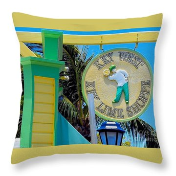 Key West Key Lime Shoppe Throw Pillow by Janette Boyd