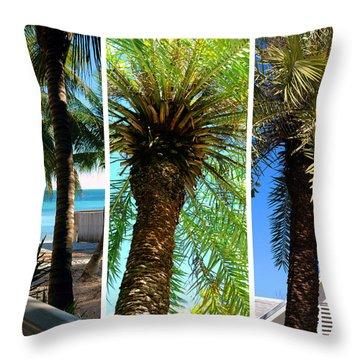 Key West Palm Triplets Throw Pillow by Susanne Van Hulst