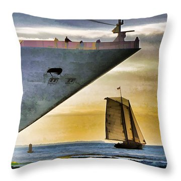 Key West Sunset Sail Throw Pillow by Dennis Cox WorldViews