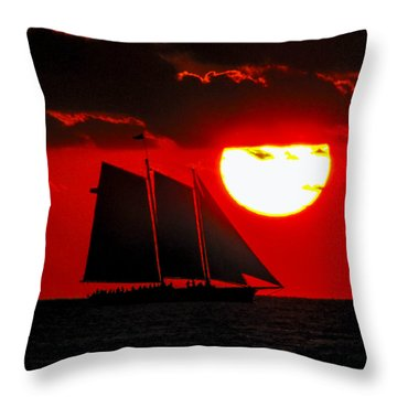 Key West Sunset Sail Silhouette Throw Pillow