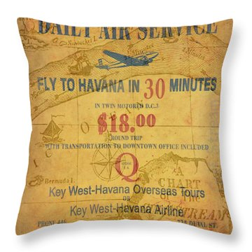 Key West To Havana Throw Pillow