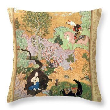 Khusrau Sees Shirin Bathing In A Stream Throw Pillow