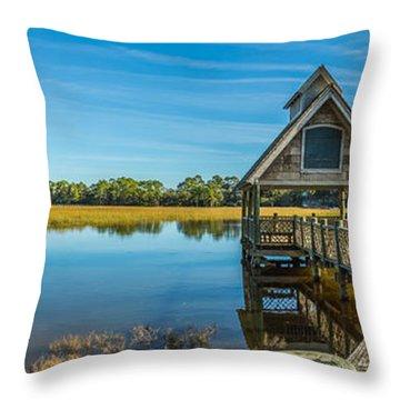 Kiawah Island Boathouse Panoramic Throw Pillow