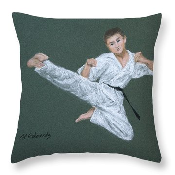 Kick Fighter Throw Pillow by Marna Edwards Flavell