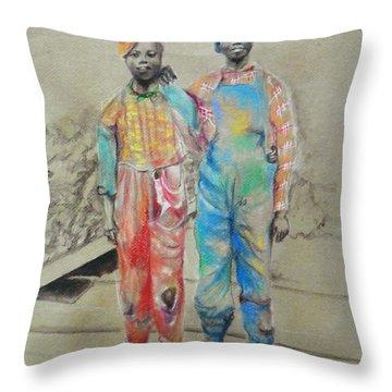 Kickin' It -- Black Children From 1930s Throw Pillow