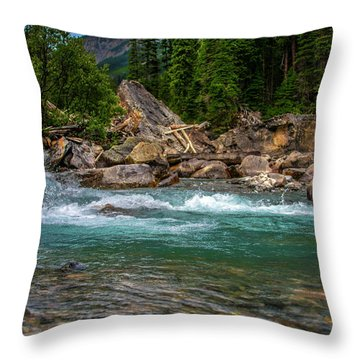 Kicking Horse And Yoho River Meet. Throw Pillow by Patrick Boening