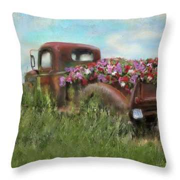 Kicks On Route 66 Throw Pillow by Colleen Taylor