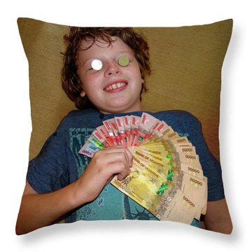 Kid With Money Throw Pillow