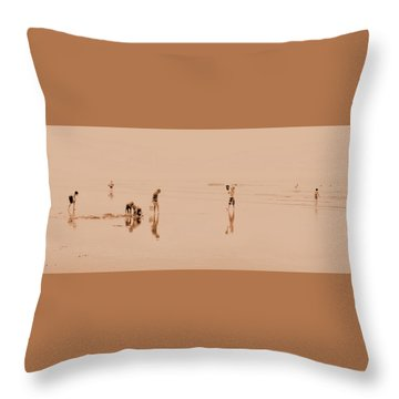 Kids At Play In Sepia Throw Pillow