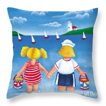 Kids In Door County Throw Pillow by Pat Olson