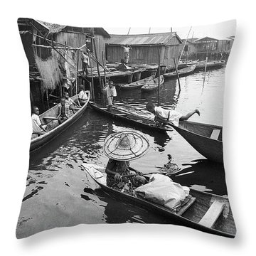 Waterways And Canoes Throw Pillow