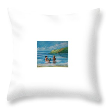 Kids Playing On The Beach Throw Pillow