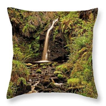Kielder Forest Waterfall Throw Pillow