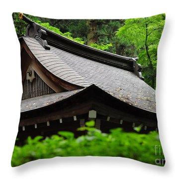 Kifune Shrine Throw Pillow by Stevyn Llewellyn