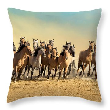Kiger Mares Throw Pillow