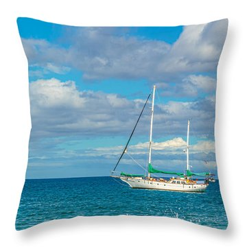 Kihei Sailboat 4 Throw Pillow by Leigh Anne Meeks