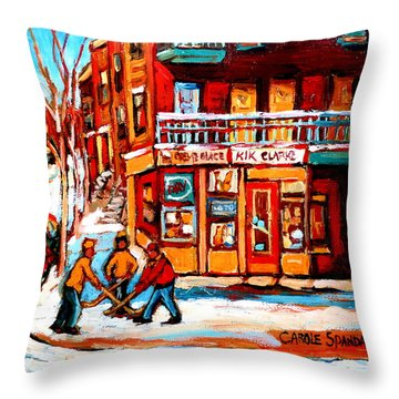 Kik Cola Depanneur Throw Pillow by Carole Spandau