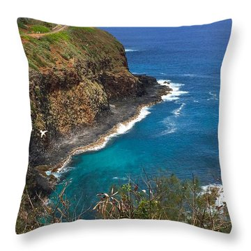Throw Pillow featuring the photograph Kilauea Lighthouse by Brenda Pressnall