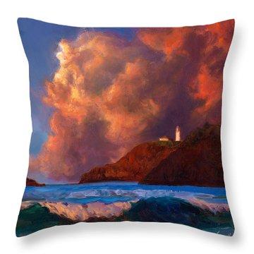 Kilauea Lighthouse - Hawaiian Cliffs Sunset Seascape And Clouds Throw Pillow