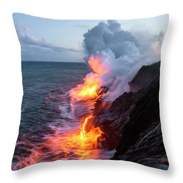 Kilauea Volcano Lava Flow Sea Entry 3- The Big Island Hawaii Throw Pillow by Brian Harig