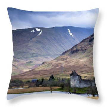 Kilchurn Castle On Loch Awe In Scotland Throw Pillow