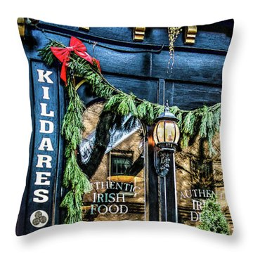 Kildares Irish Pub At Christmas Throw Pillow