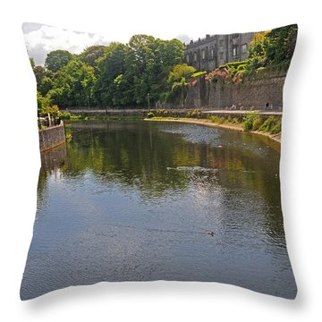 Kilkenny Castle And River Nore Throw Pillow