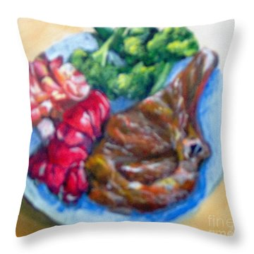 Throw Pillow featuring the painting Killer Meal by Saundra Johnson