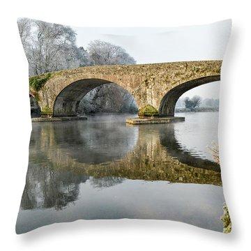 Kilsheelan Bridge In Winter  Throw Pillow