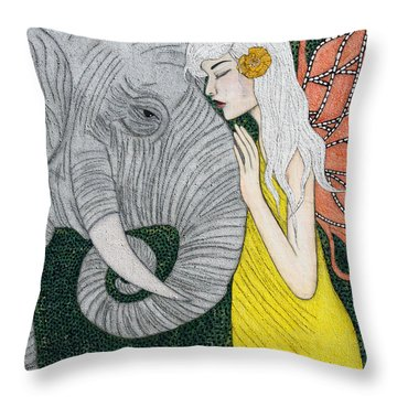 Throw Pillow featuring the painting Kindred Souls by Natalie Briney