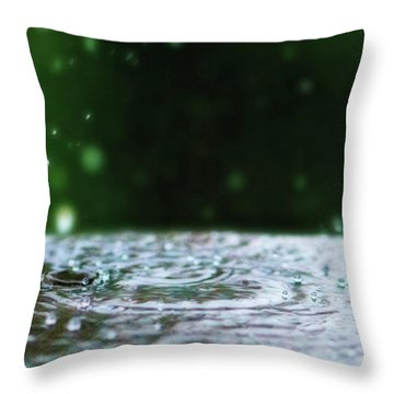 Kinetic Raindrops Throw Pillow by Lisa Knechtel